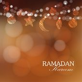 foto of ramadan mubarak card  - Garlands with moon stars lights vector illustration background card invitation for muslim community holy month Ramadan Kareem - JPG