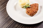 picture of mashed potatoes  - mashed potato with cutlet - JPG