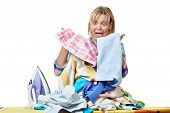 pic of homework  - The woman in stress from homework isolated - JPG