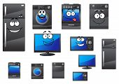 picture of refrigerator  - Cartoon electrical household and kitchen appliances with happy faces including refrigerator - JPG