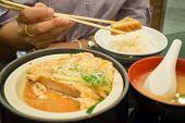 stock photo of pork chop  - Japanese fried pork chop with rice stock photo - JPG