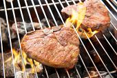 picture of flame-grilled  - Grilled pork chop on the flaming grill - JPG