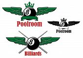 Постер, плакат: Pool or billiards ball with wings