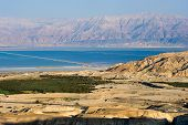 stock photo of masada  - Southern part of the dead sea as seen from the rock Masada - JPG