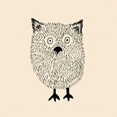 stock photo of hairy  - Isolated hand drawn hairy baby owl vector illustration - JPG