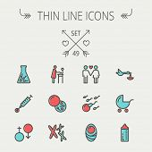 foto of sperm cell  - Medicine thin line icon set for web and mobile - JPG