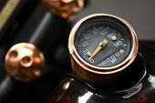 picture of mph  - Color detail with the speedometer of a motorcycle.