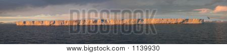 Picture or Photo of Tabular iceberg sunset glow bransfield strait antarctica