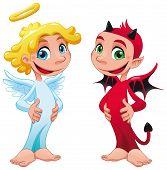 Baby-Engel und Teufel.