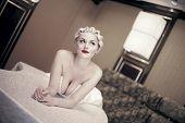 Sexy Blond Woman  Laying