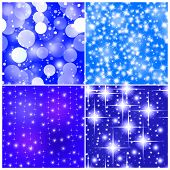 Four Tile Seamless Abstract Christmas Background With Stars And Snowflakes.
