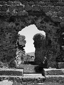 stock photo of oddities  - Black and white photograph of ruins of monastery - JPG