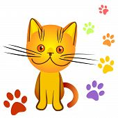 Orange Kitten Bully Made A Mess In The House, Everywhere Traces Of Cat Paws poster