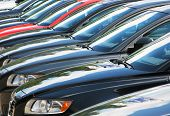 image of exposition  - Row of cars displayed for a sale - JPG