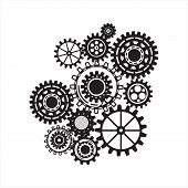 Business mechanism concept. Abstract background with connected gears and icons for strategy, service poster
