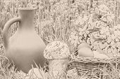 Постер, плакат: Easter Picnic On The Lawn In Garden Sepia