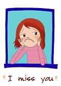 A sad cartoon girl