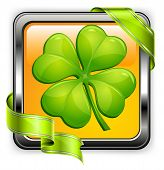 stock photo of saint patricks day  - Square clover button with green ribbon on white vector illustration for St - JPG