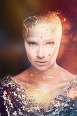 Girl Astronomer. Universe. Mixed Light. poster
