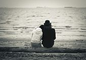 Love couple by the sea