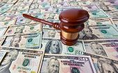 Dollar Currency notes and Gavel