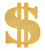 Golden Dollar Symbol Incrusted With Diamonds