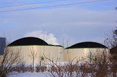 foto of biogas  - a big bio gas plant in winter - JPG