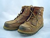 image of work boots  - a pair of steel toe work boots - JPG
