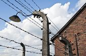 stock photo of auschwitz  - Electric fence at Auschwitz Birkenau concentration camp in Poland - JPG