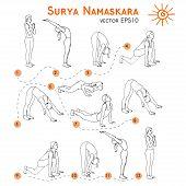 Постер, плакат: Surya Namaskara Yoga set
