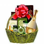 image of gift basket  - a vector illustration of a gift hamper with wine and chocolates - JPG