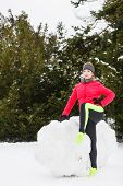 Woman Wearing Sportswear Exercising During Winter poster