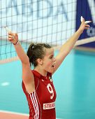 SZOMBATHELY, HUNGARY - JUNE 4: Zsanett Miklai celebrates at a CEV European League woman's volleyball game Hungary vs Bulgaria on June 4, 2011 in Szombathely, Hungary.