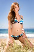 Gorgeous Red Head Bikini Model On Beach