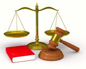 Scales justice and hammer on white background. Isolated 3D image