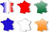 form of France map stickers set