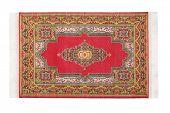 Rectangular red carpet horizontally lies on white background