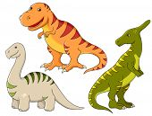 Rasterized version of vector set - funny dinosaurs. Tyrannosaurus, brontosaurus and saurolophus