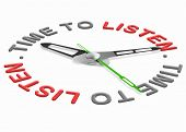 time to listen. Listening to important message. hearing to arguments of the opposite side during a discussion or a negotiation. Respect the opinion of others and hear in a debate.