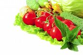Vegetable Allsorts Isolated On White Background
