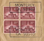 USA - CIRCA 1956: Stamp printed by USA in Philadelphia, PA. shows Independence Hall. This 10 cent stamp was part of Liberty series honoring guardians of freedom throughout U.S. history, circa 1956.