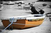 picture of st ives  - Yellow boat on sandy beach taken in St Ives - JPG