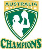 image of netball  - illustration of a netball player with ball set inside shield with word Australia Champions - JPG