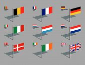Flag Pins - Eu 1958 - 1973.Eps