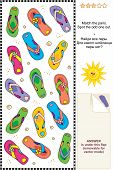 Colorful flip-flops visual logic puzzle