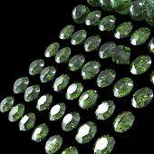Round gemstone on black background. Emerald. Peridot
