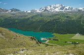 image of engadine  - Alpine landscape in the valley of Engadine - JPG
