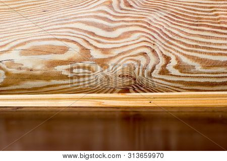 poster of Interior Of Log Wooden House. Close-up Wooden Wall From Round Logs. Copy Space. Place For Custom Tex