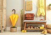 Cozy Hallway Interior With Storage Bench And Stylish Design Elements poster