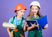 Amateur Renovation. Sisters Renovating Home. Home Improvement Activities. Kids Choosing Paint Colour poster